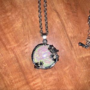 Iridescent dragon necklace